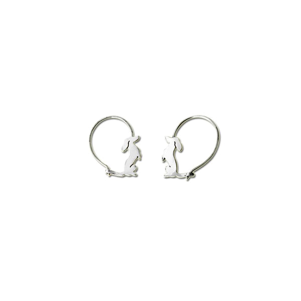 Dachshund Sit-up - Handmade Silver Hoop Earrings - WeeShopyDog
