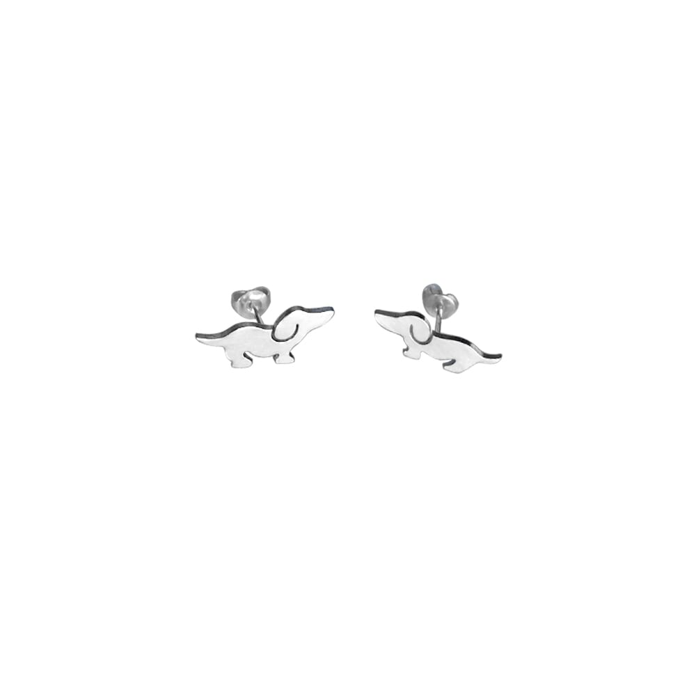 Dachshund Dog Fun - Silver Stud Earrings - WeeShopyDog
