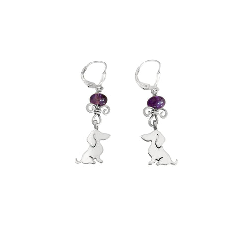 Dachshund Dangle Leverback Earrings - Silver Amethyst |Sweet - WeeShopyDog