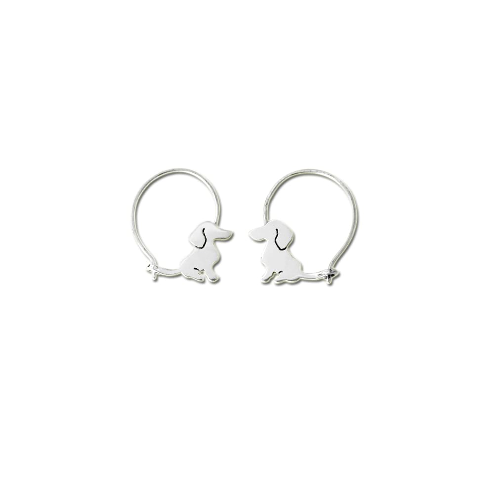 Dachshund Hoop Earrings - Silver |Sweet - WeeShopyDog