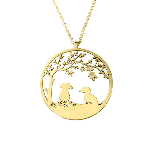Dachshund Tree Of Life - 14K Gold-Plated Pendant Necklace - WeeShopyDog