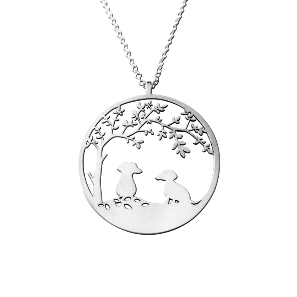 Dachshund Tree Of Life Pendant Necklace - Silver/14K Gold-Plated - WeeShopyDog