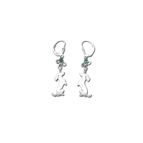 Dachshund Dangle Leverback Earrings - Silver Turquoise |Sit-up - WeeShopyDog