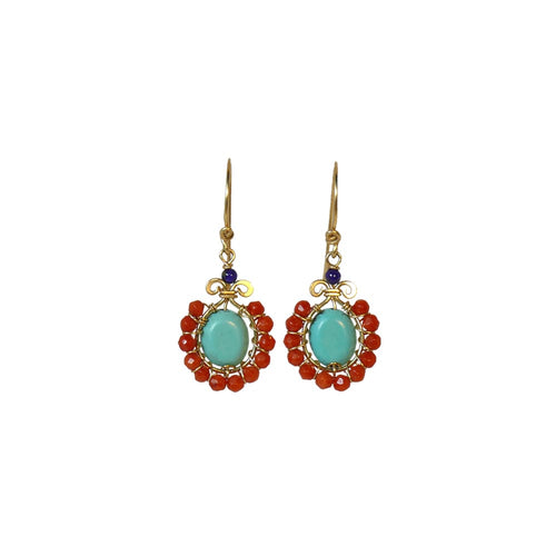 Boho Flower - 14K Gold Filled Turquoise Corals and Lapis - Dangle Drop Earrings - WeeShopyDog