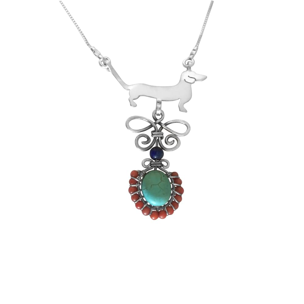 Dachshund Line Butterfly - Silver Turquoise Corals Lapis Pendant Necklace - WeeShopyDog