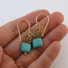 Load image into Gallery viewer, Boho Light  - 14K Gold Filled and Turquoise - Dangle Drop Earrings - WeeShopyDog