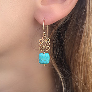 Boho Light  - 14K Gold Filled and Turquoise - Dangle Drop Earrings - WeeShopyDog