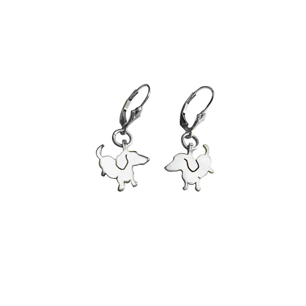 Dachshund Dangle Leverback Earrings - Silver |Up - WeeShopyDog