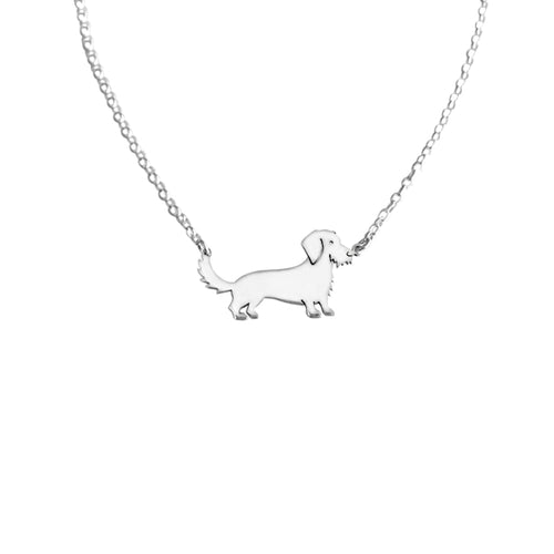 Dachshund Wire Haired Pendant Necklace - Silver - WeeShopyDog