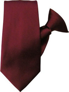 Plain Satin Clip On Tie - Burgundy