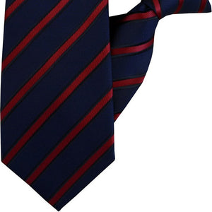 Navy and Red Stripe Clip On Tie (JH-1059)