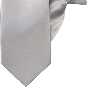 Plain Light Silver Luxury Clip On Tie (JH-P002)