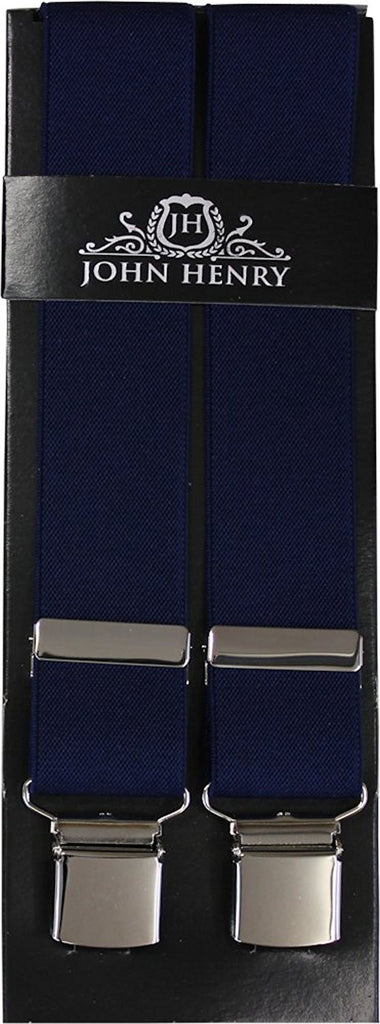 Plain Navy Wide Luxury Braces - Extra Strong Clip - 44