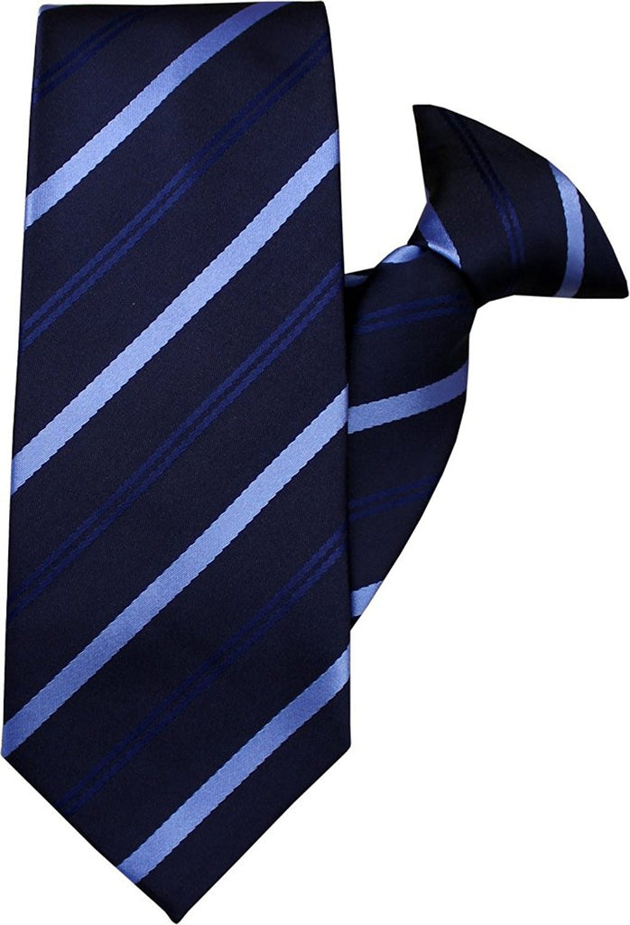 Navy and Blue Stripe Clip On Tie (JH-1045)