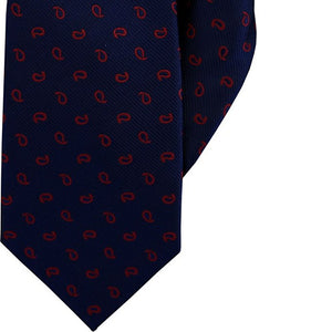 Navy with Red Paisley Clip On Tie (JH-1060)