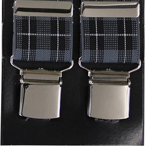 Grey Tartan Wide Luxury Braces - Extra Strong Clip - 44
