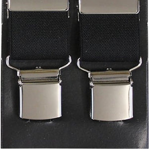 Plain Black Wide Luxury Braces - Extra Strong Clip - 44