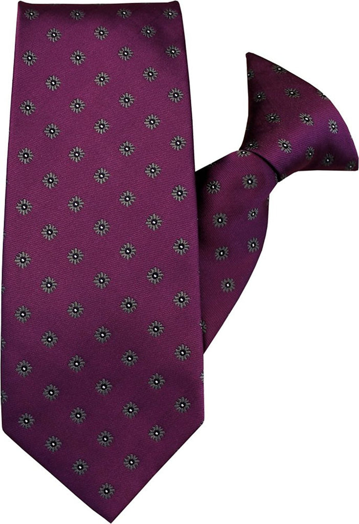 Plum with Grey Flowers Clip On Tie (JH-1035)