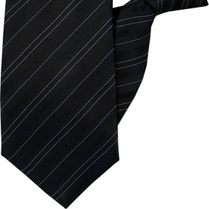Black with White Stripe Clip On Tie (JH-1013)