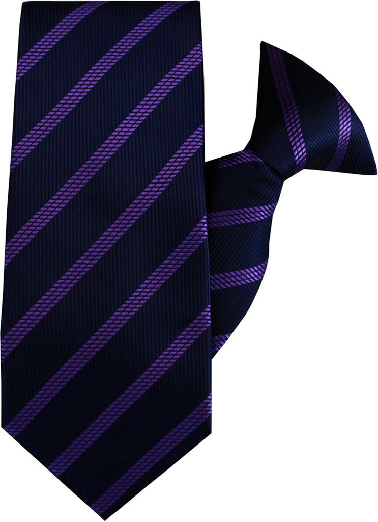 Purple and Navy Stripe Clip On Tie (JH-1058)