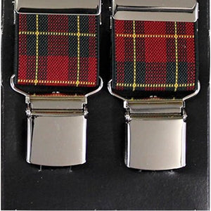 Red Tartan Wide Luxury Braces - Extra Strong Clip - 44