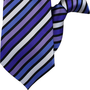 Purple, White and Black Stripe Clip On Tie (JH-1002)