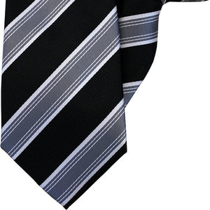 Black, Grey and White Stripe Clip On Tie (JH-1003)