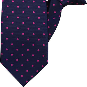 Navy with Fuchsia Spot Clip On Tie (JH-1029)