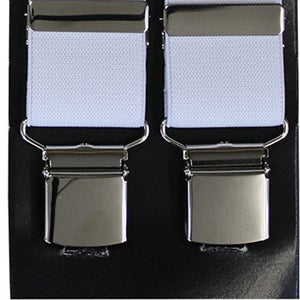 Plain White Wide Luxury Braces - Extra Strong Clip - 44