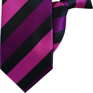 Fuchsia, Purple and Black Stripe Clip On Tie (JH-1051)