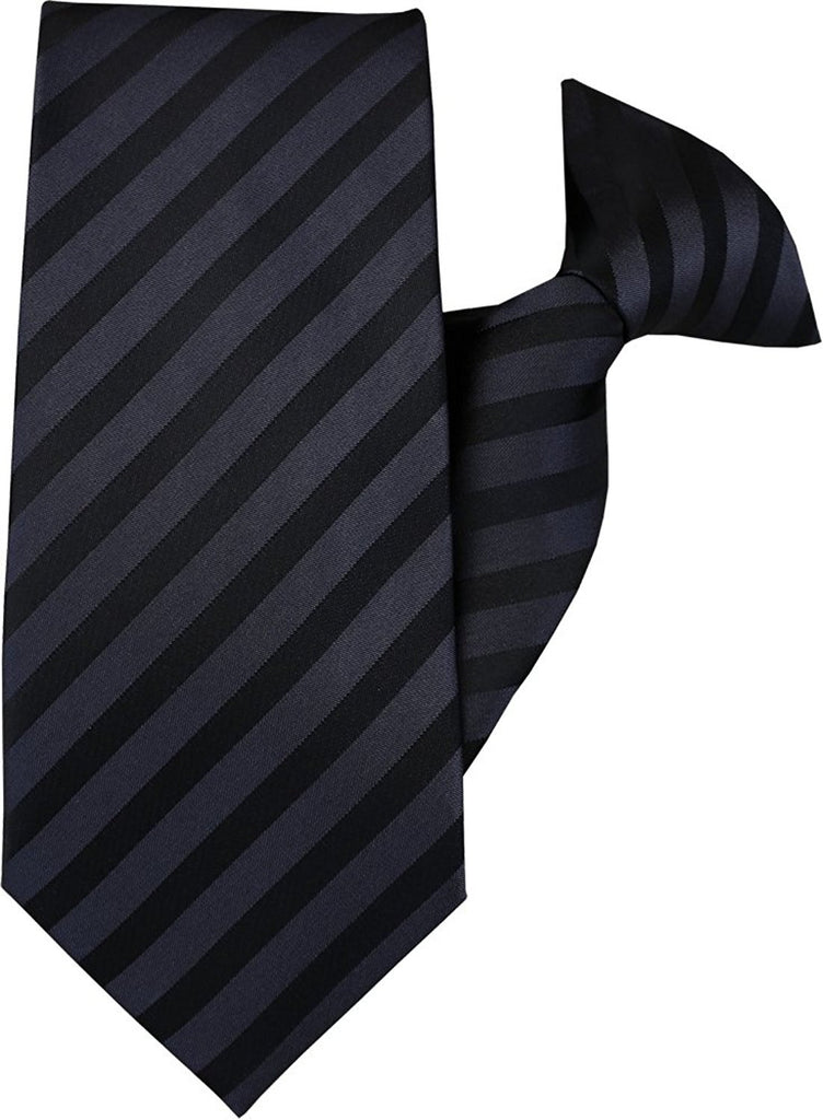 Black and Dark Grey Stripe Clip On Tie (JH-1004)