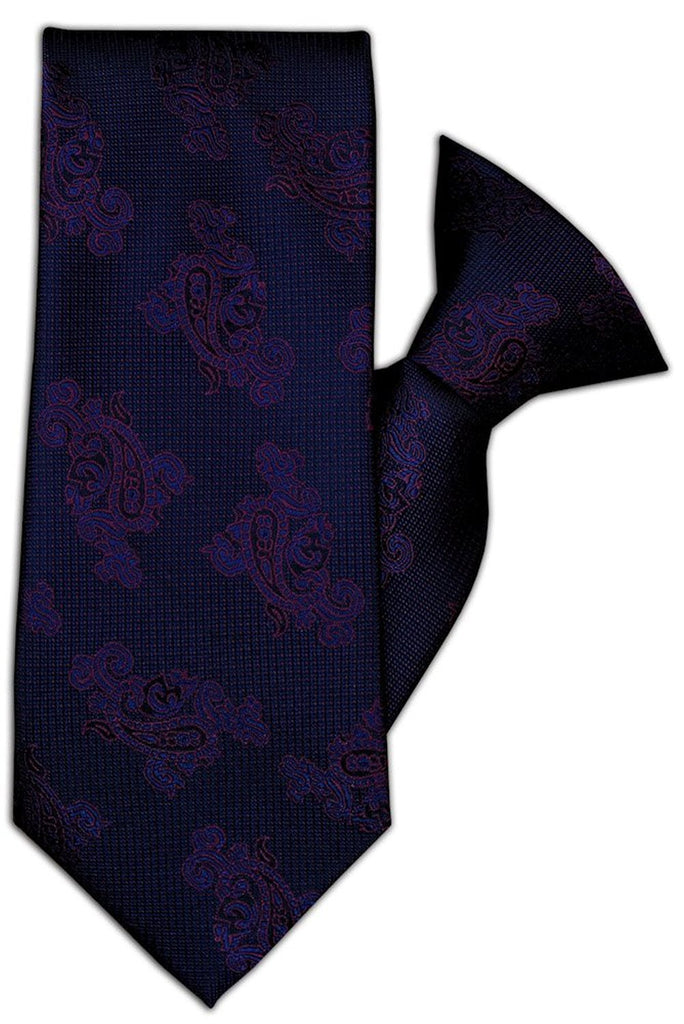 Navy with Wine Paisley Design Clip On Tie (JH-1078)