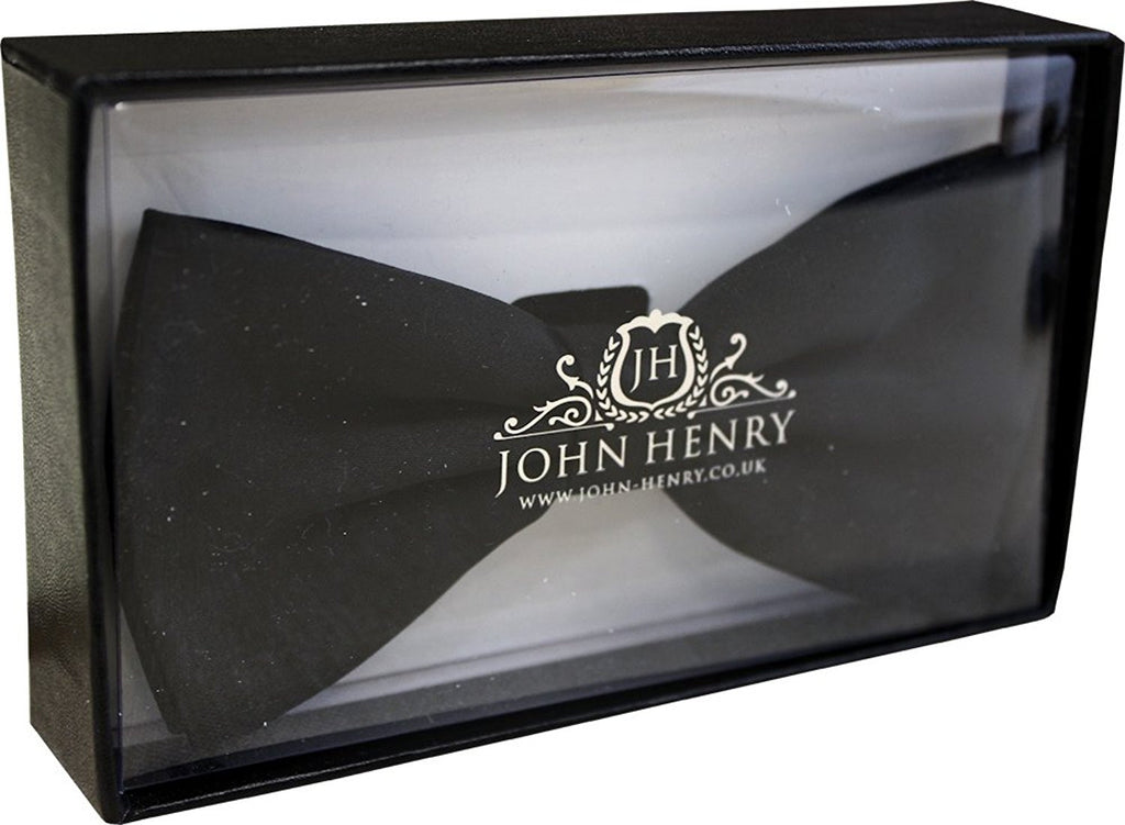 Plain Black Luxury Ready Tied Bow Tie