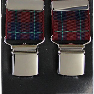 Burgundy Tartan Wide Luxury Braces - Extra Strong Clip - 44