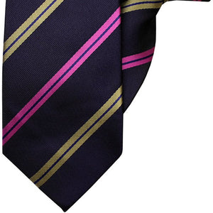 Navy with Pink and Gold Stripe Clip On Tie (JH-1042)