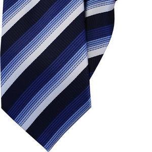 Navy, Blue and White Stripe Clip On Tie (JH-1009)