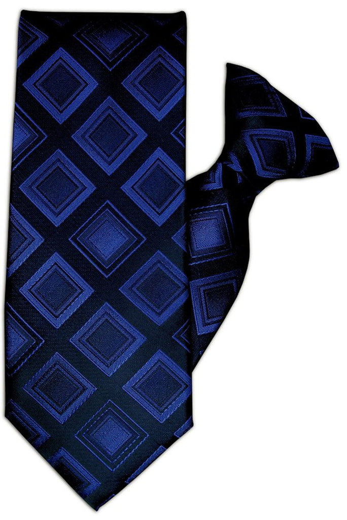 Navy with Blue Diamond Design Clip On Tie (JH-1083)