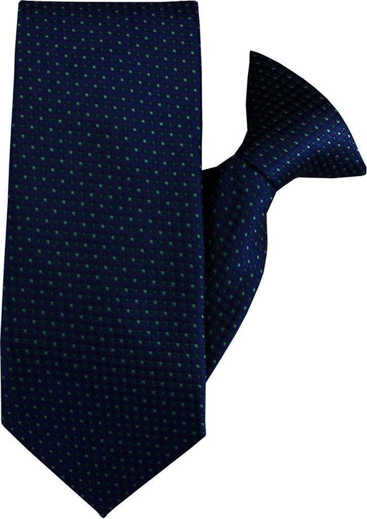 Navy with Green Squares Clip On Tie (JH-1062)