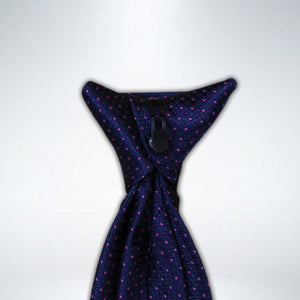Navy with Purple and Fushsia Square Design Clip On Tie (JH-1070)