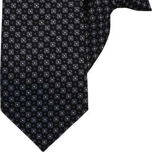 Black Herringbone with Grey Check Clip On Tie (JH-1026)