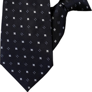 Dark Grey with Silver and White Design Clip On Tie (JH-1015)
