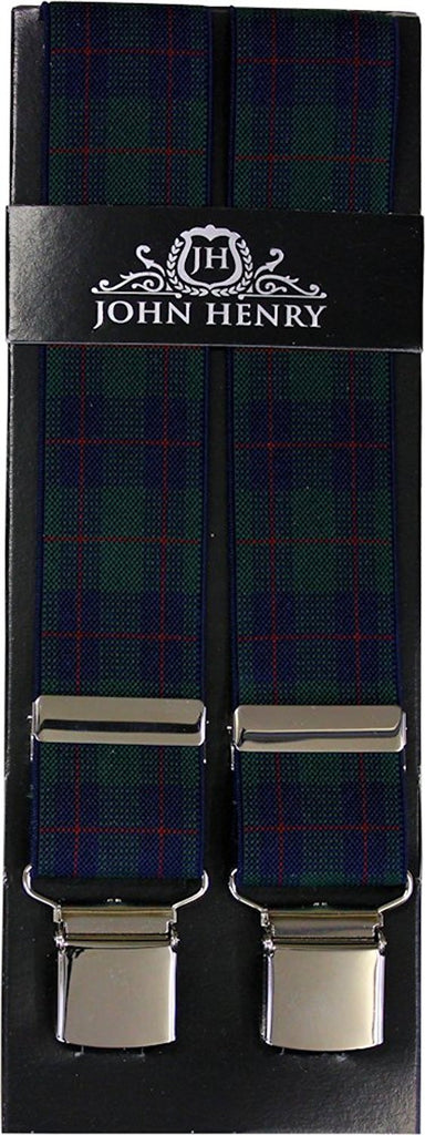 Green Tartan Wide Luxury Braces - Extra Strong Clip - 44
