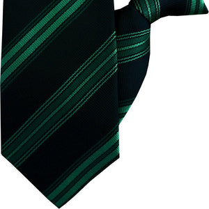Green and Black Stripe Clip On Tie (JH-1055)