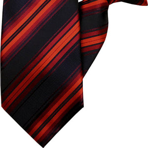 Red and Black Stripe Clip On Tie (JH-1053)