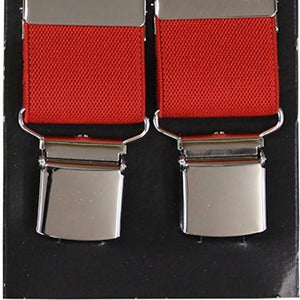 Plain Red Wide Luxury Braces - Extra Strong Clip - 44