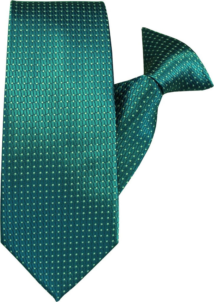 Green with Silver Squares Clip On Tie (JH-1019)