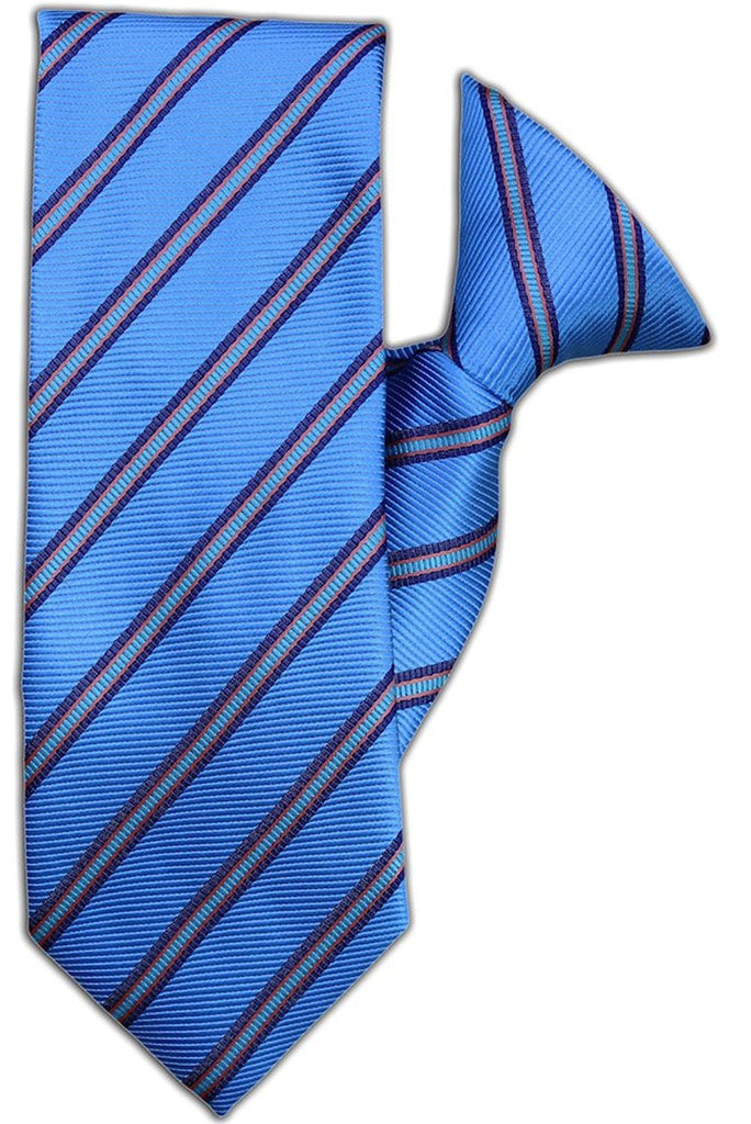Blue and Orange Stripe Clip On Tie (JH-1095)