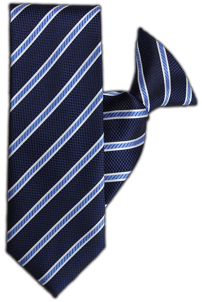 Navy and Blue Stripe Clip On Tie (JH-1089)