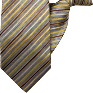 Gold, Burnt Orange, Sky Blue and Purple Stripe Clip On Tie (JH-1056)