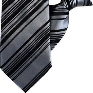 Silver and Black Stripe Clip On Tie (JH-1057)